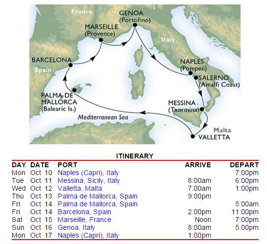 路線是標準西地中海行程