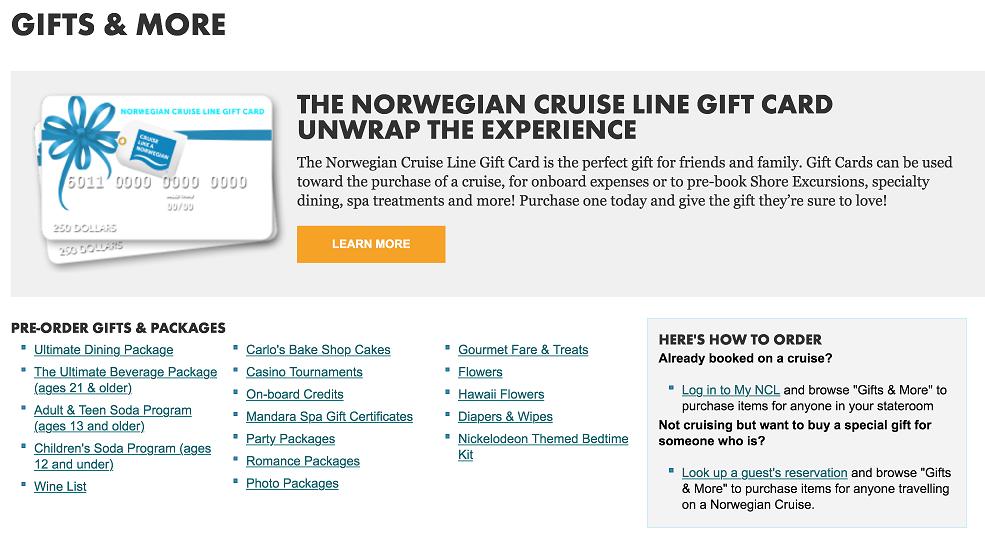 幾乎每家遊輪公司都有代送禮物的服務 (這頁是 Norwegian 的禮物卡資訊)