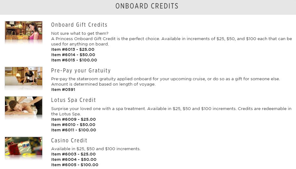從 onboard credit、預付小費、鮮花、上網時數、Spa 療程到各種你想得到的禮物都可以送