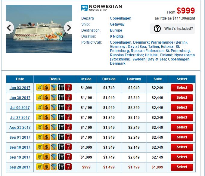 用搜尋引擎查Norwegian的北歐Getaway 行程,價格一目了然