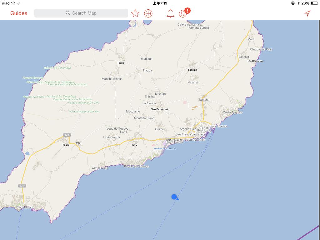 大船即將進港~ (Lanzarote 的形狀有點像一隻扭著身體的海豹啊~ ^^)