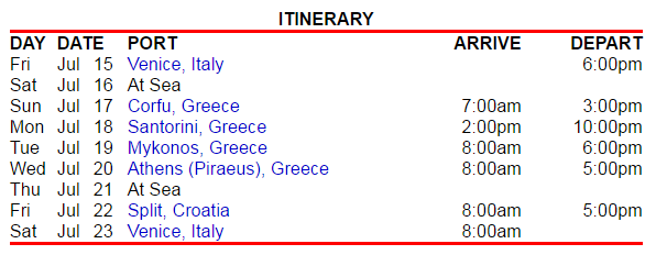 行程是從威尼斯出發,到各個希臘小島,有兩天 at sea,走的是不鬆不緊的浪漫風~