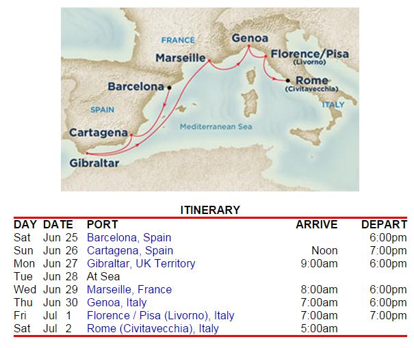 公主郵輪6月底的西地中海行程