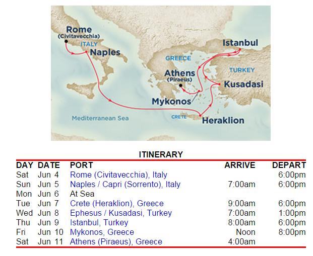 公主郵輪 6月初的東地中海行程