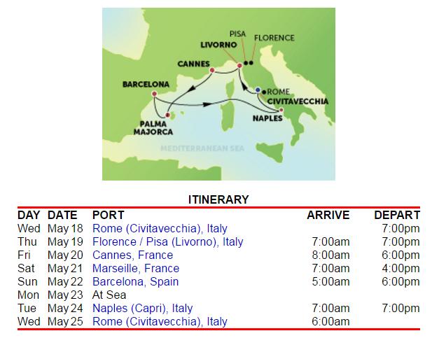標準的西地中海8天7夜行程