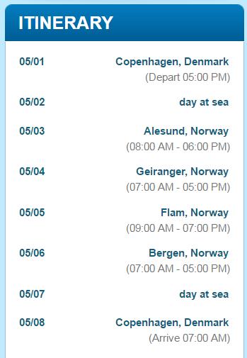 行程是由哥本哈根進出的挪威峽灣路線