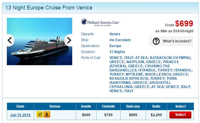 荷美郵輪 14天13夜的東地中海行程,船票台幣兩萬五有找