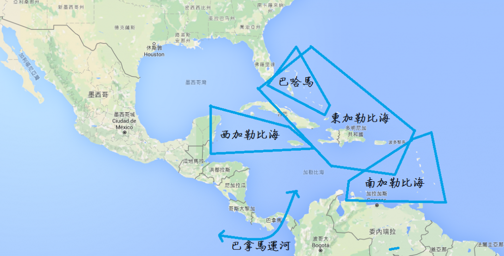 傳統的加勒比海航線分為:東、西、南加勒比海,以及巴哈馬航線