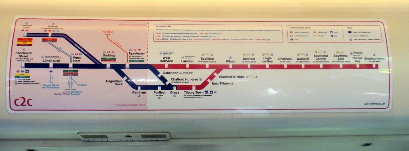 車廂內都有C2C的班車路線圖,但是這張圖並不能提早告訴你是不是搭錯了~