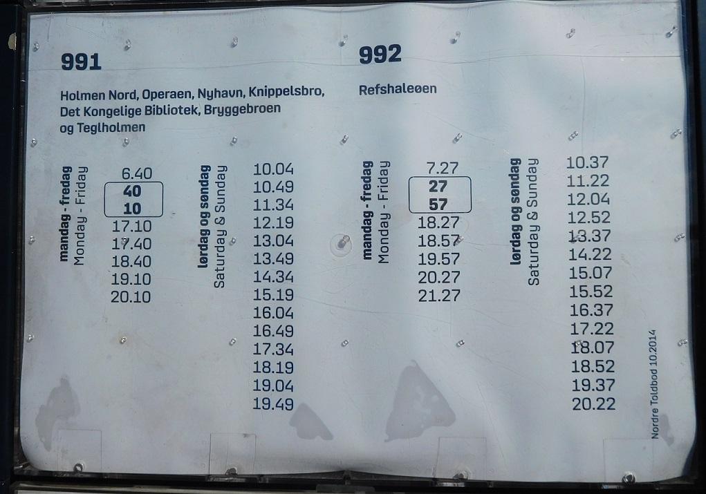 交通船的時刻表