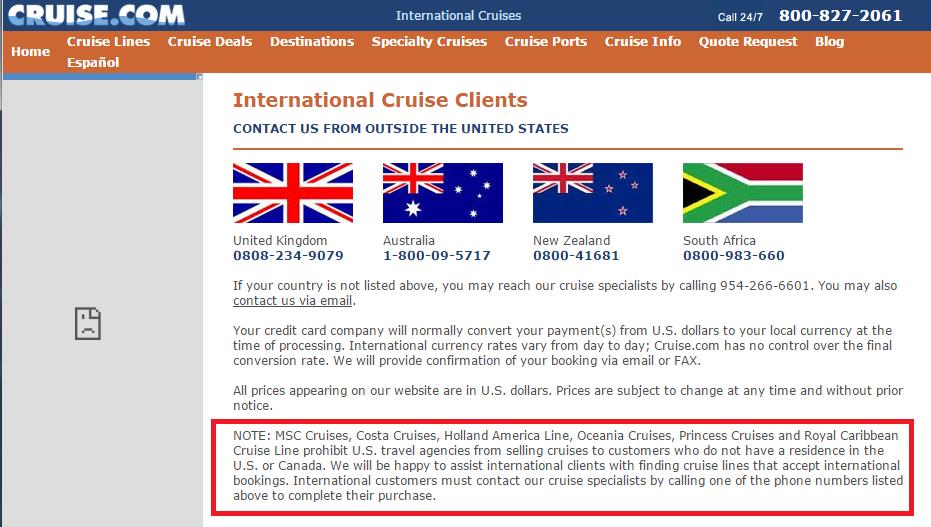 cruise.com 對非美加居民的限制