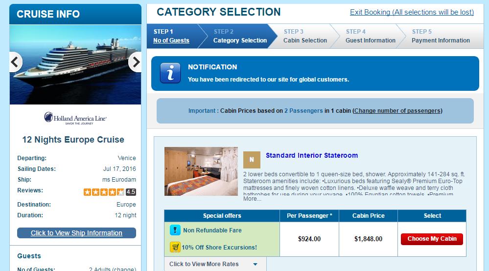 Holland America 13天地中海暑假行程,非美加的船票價格只要924美金