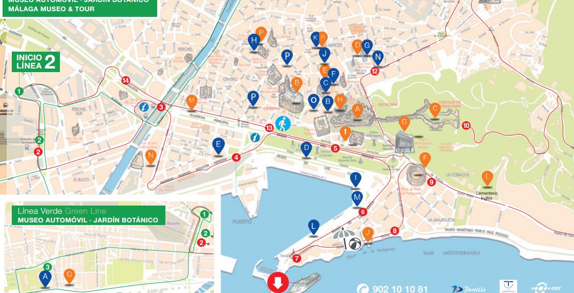 觀光巴士路線圖,可以看出來其實 Malaga 大部分的景點其實都在附近