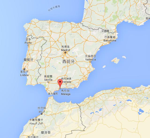Malaga 的地理位置 (剛好也看到了其他伊比利半島上的大港)