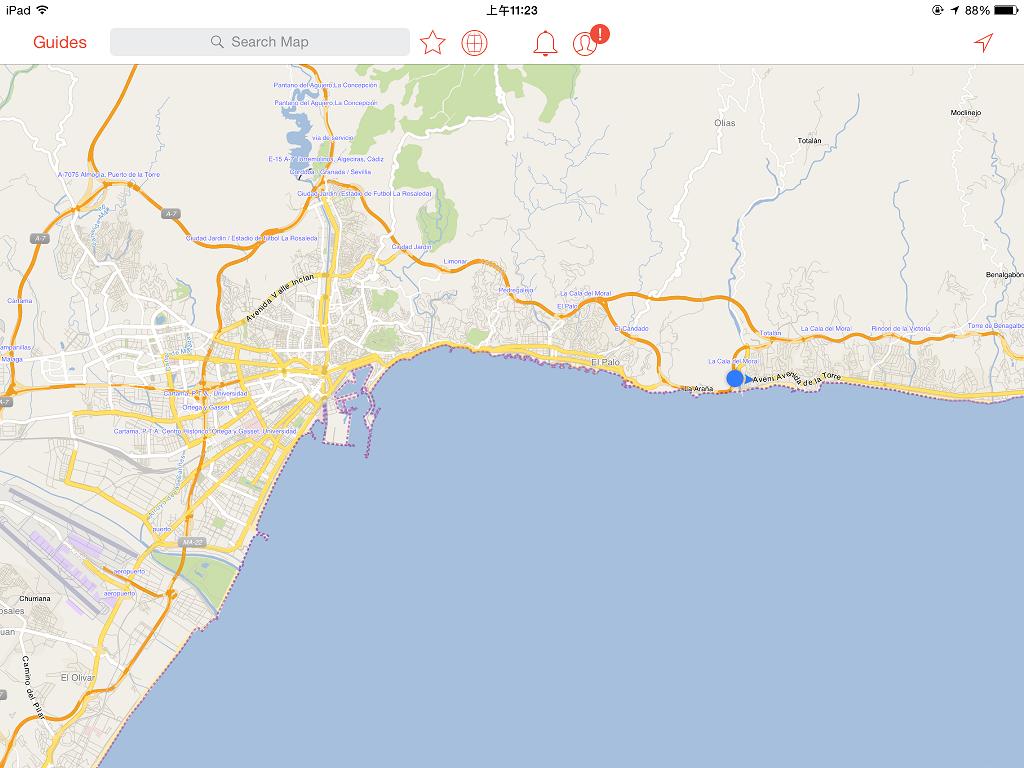打開 City Maps 2go,看著小點點一路往離開 Malaga 的方向前進,有點緊張耶~
