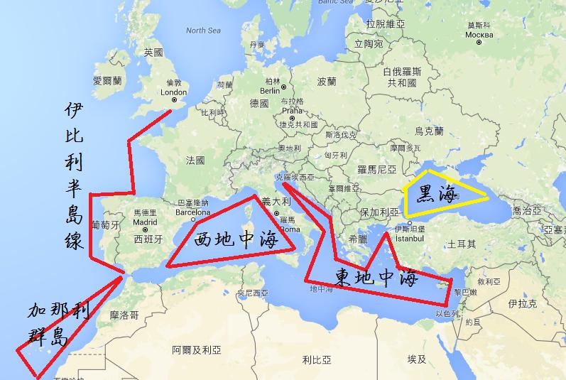 地中海航線粗分類