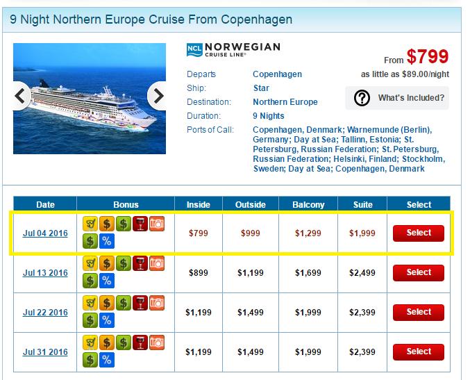 Norwegian Star北歐線7月的價格很少低於900美金的