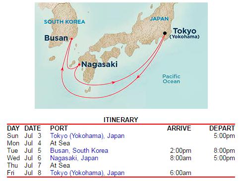 由東京出發,6天5夜的公主郵輪行程