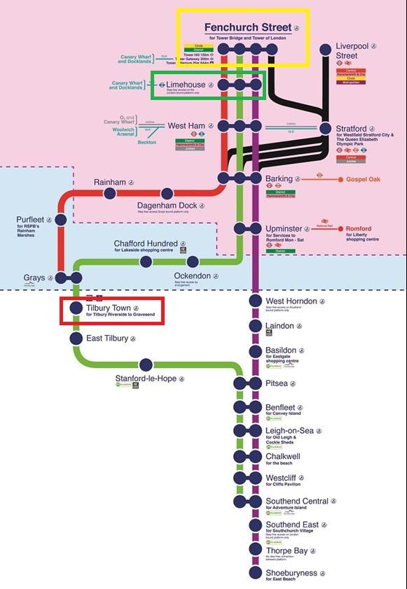 圖中粉紅色背景的部分是倫敦市,我們到 Tilbury Town需要搭的是綠線