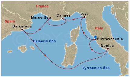 挪威郵輪 Epic 的標準西地中海行程