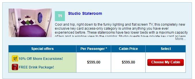 暑假郵輪的單人船票,最低599美金