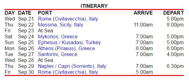 行程是由羅馬進出的希臘小島行程