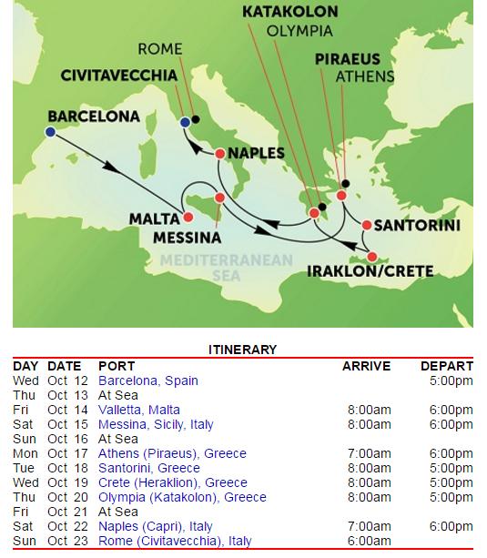 由巴塞隆納上船,羅馬下船,中間有三天 at sea