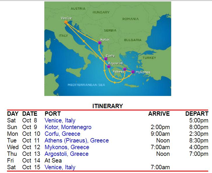 由威尼斯進出的希臘8天7夜行程