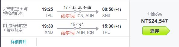 搭配CP值不錯的航班