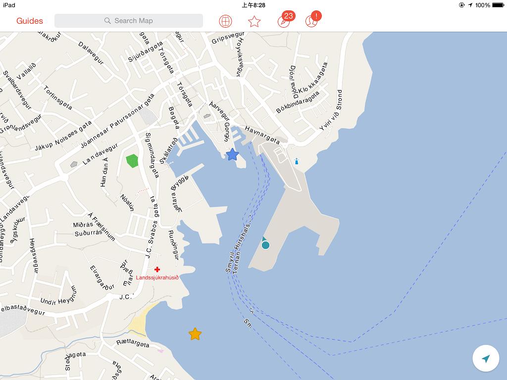拿出 City Maps 2go,郵輪就是停在這啦~