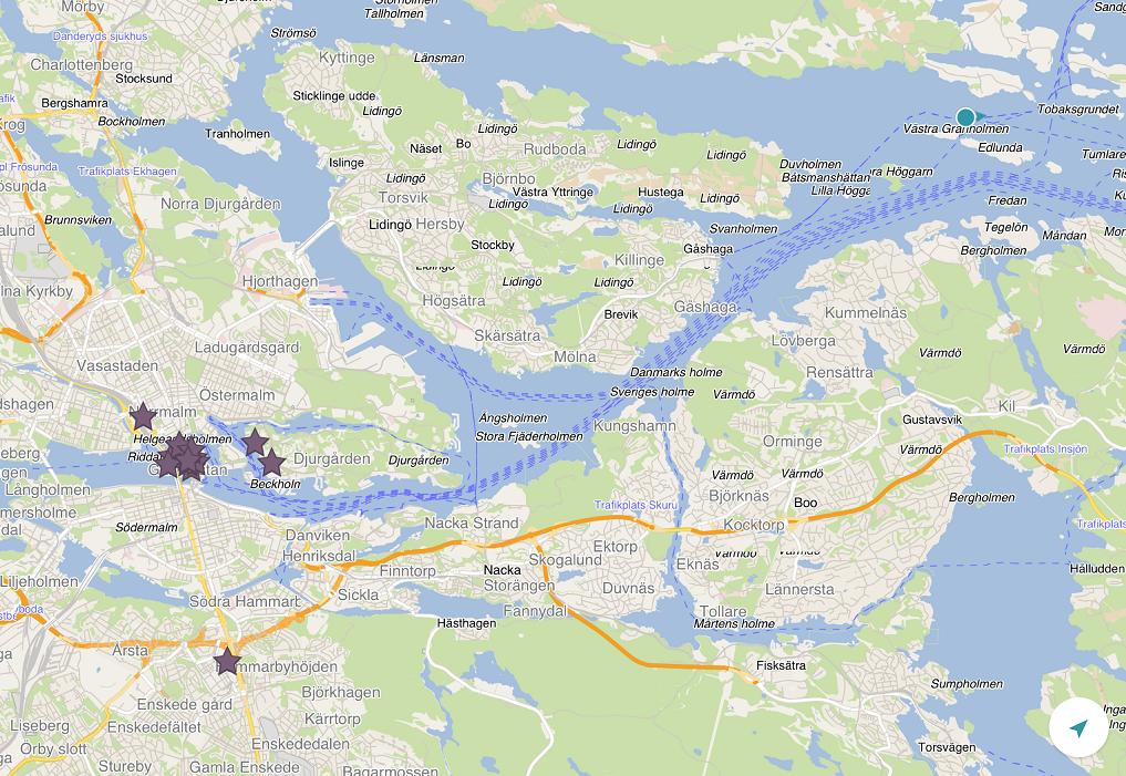 郵輪快要入港囉~ 前面那一團紫色做記號的地方,就是我們要去的斯德哥爾摩舊城區